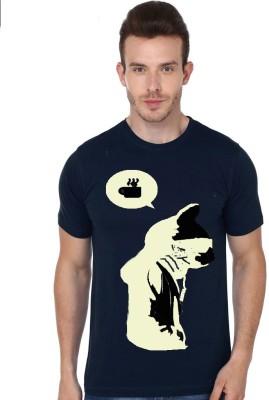 Madink Animal Print, Graphic Print Men's Round Neck Dark Blue T-Shirt