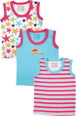 Luvable Friends Striped, Printed Baby Girl's Round Neck Multicolor T-Shirt