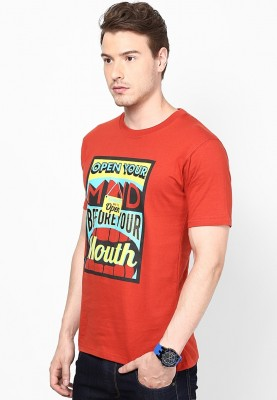 Blotch Printed Men's Round Neck Orange T-Shirt