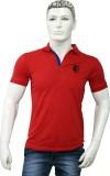 Attire Solid Men's V-neck Red T-Shirt