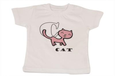 TSG Breeze Printed Baby Girl,s Round Neck White T-Shirt