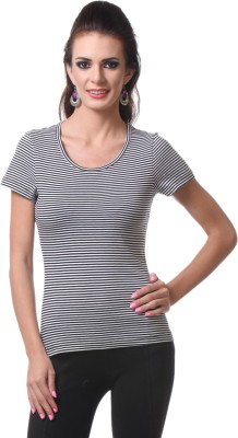 V2k Fashion Striped Women's Round Neck Reversible T-Shirt