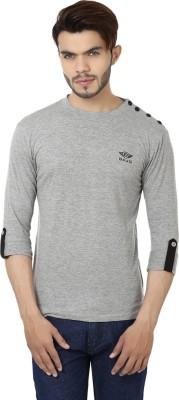 Bajo Solid Men's Round Neck Grey T-Shirt