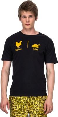 Nuteez Printed Men's Round Neck Black T-Shirt