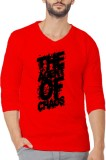 Illuzion Printed Men's V-neck Red T-Shir...