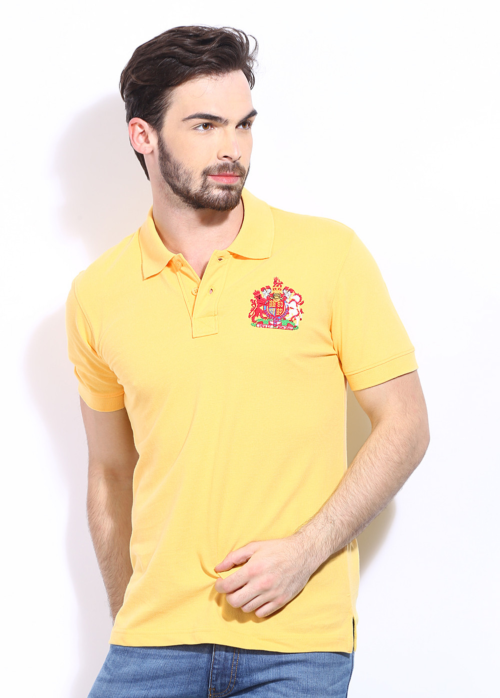 London Bridge Solid Men's Polo Neck Yellow T-Shirt