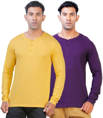 Click Hit Solid Men's Henley Yellow, Purple T-Shirt