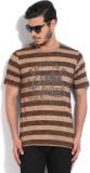 RIG Striped Men's Round Neck Brown T-Shi...