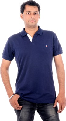 Wells Smith Solid Men,s Polo Dark Blue T-Shirt