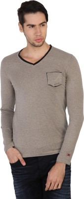 Being Human Solid Men's V-neck Grey T-Shirt
