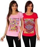Go-Art Printed Women's Round Neck Multic...