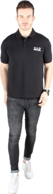 Emporio Armani Solid Men's Polo Neck Black T-Shirt