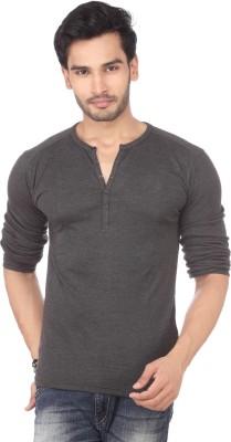 DXI Solid Men's Henley Grey T-Shirt