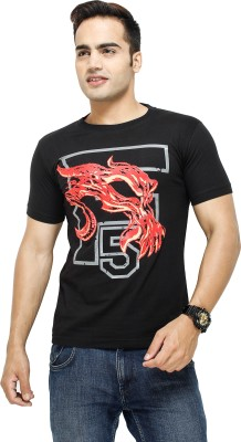 Attitude Printed Men's Round Neck Black T-Shirt