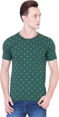 Ganzm Printed Men's Round Neck Green T-Shirt