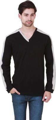 Cherymoya Solid Men's V-neck Black T-Shirt