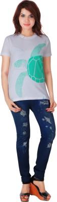 One For Blue Animal Print Women's Round Neck White T-Shirt