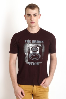 Teen Tees Graphic Print Men,s Round Neck Brown, Grey T-Shirt