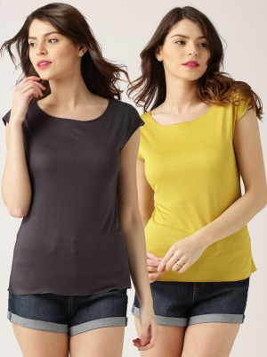 DressBerry Solid Women's Boat Neck T-Shirt