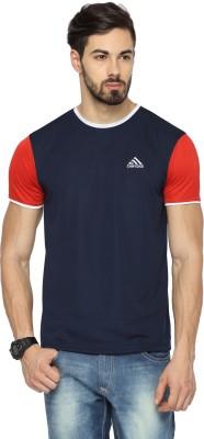 Canyons Solid Men's Round Neck Dark Blue T-Shirt