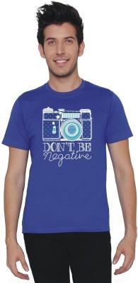 Threadz Printed Men's Round Neck Blue T-Shirt