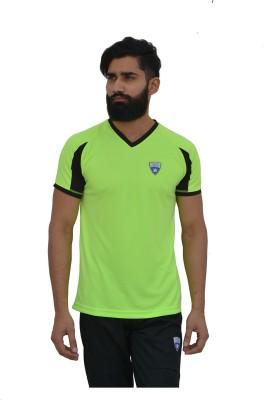 Color Castle Solid Men's V-neck Green T-Shirt