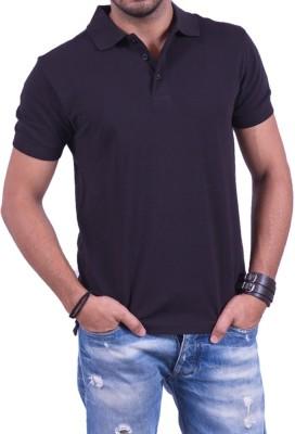 Cotton & Blends Solid Men's Polo Neck Black T-Shirt