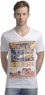 WRIG Printed Men's V-neck White T-Shirt