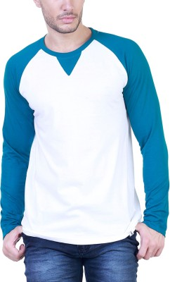 Unkonventional Solid Men's Round Neck White, Green T-Shirt