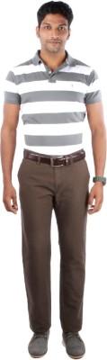 Indian Terrain Striped Men's Polo Grey T-Shirt