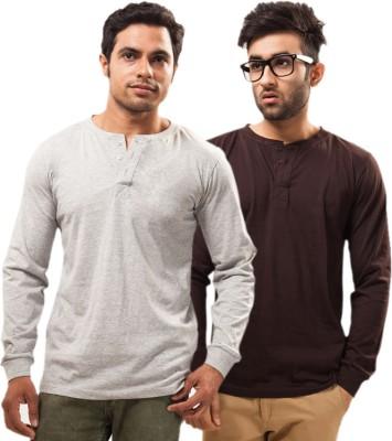 Unisopent Designs Solid Men's Henley Grey, Brown T-Shirt