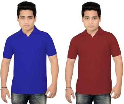 BrandTrendz Solid Men's Polo Neck Blue, Maroon T-Shirt