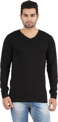 R - Cross Solid Men's V-neck Black T-Shirt