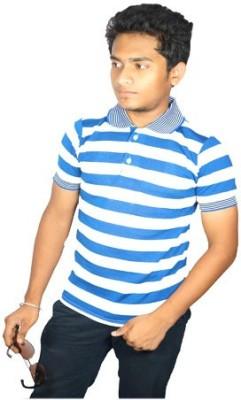 Desi Connection Striped Men,s, Boy's Polo Blue T-Shirt