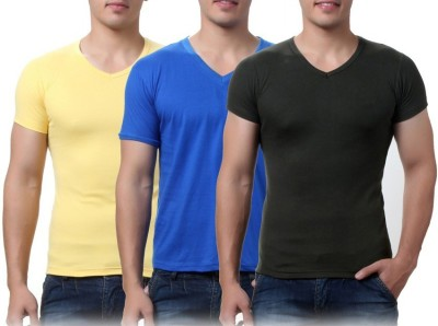 Sparkk Solid Men's V-neck Multicolor T-Shirt