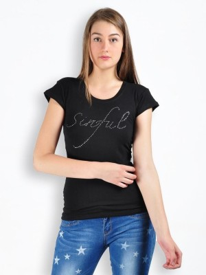 MySin Self Design Women's Round Neck T-Shirt