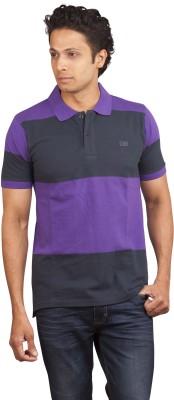 Moxi Striped Men's Polo Neck Purple T-Shirt