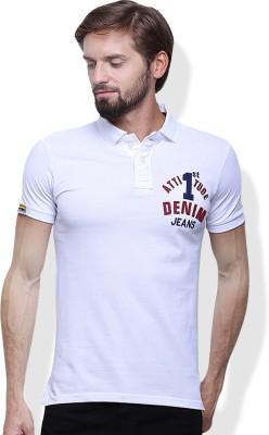 GOINDIASTORE Solid Men's Polo Neck White T-Shirt