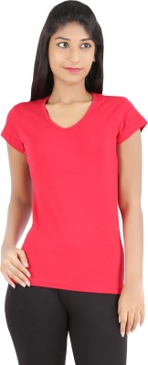 Rhamgold Solid Women's V-neck Red T-Shirt
