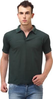 Lime Fashion Solid Men's Polo Dark Green T-Shirt
