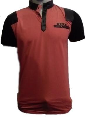 fashion point Printed Men's Fashion Neck Orange, Black T-Shirt