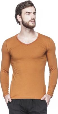 Tinted Solid Men's V-neck Brown T-Shirt