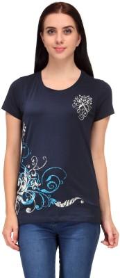 Aspasia Printed Women's Round Neck Blue T-Shirt