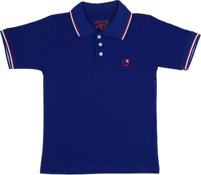 Circle Square Solid Boy's Polo Blue T-Shirt