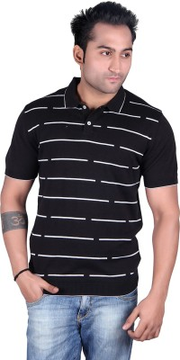 Kalt Striped Men's Polo Neck Black T-Shirt