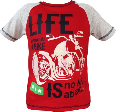 Prince And Princess Printed Boy's Round Neck Red T-Shirt