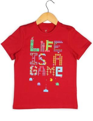 Allen Solly Printed Boy's Round Neck Red T-Shirt