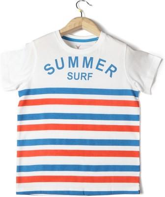 Allen Solly Striped Boy's Round Neck White T-Shirt