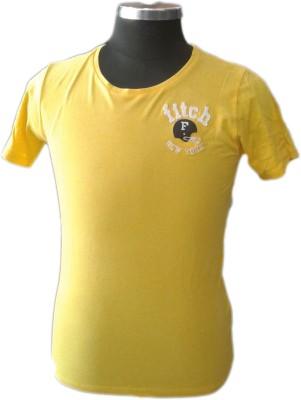 TOC Self Design Men's Round Neck Yellow T-Shirt