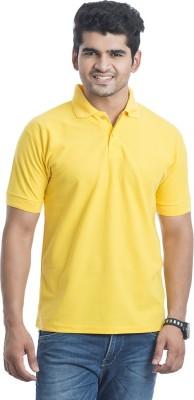 Eprilla Solid Men,s Polo Neck Yellow T-Shirt